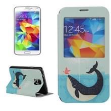 Spuiten van Water walvis patroon horizontaal spiegelen lederen hoesje ontmoette houder & Caller ID venster voor Samsung Galaxy S5 / G900