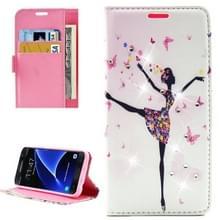Voor Samsung Galaxy S7 / G930 Fashion Lady Dancing patroon Met diamanten ingelegd horizontaal spiegelen lederen hoesje met houder & opbergruimte voor pinpassen & portemonnees