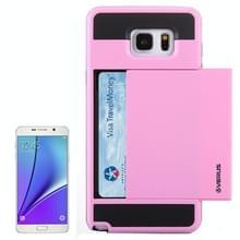 VERUS schuif stijl Plastic + siliconen combinatie hoesje ontmoette opbergruimte voor pinpassen voor Samsung Galaxy Note 5 / N920(roze)