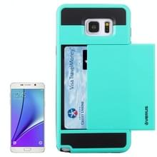 VERUS schuif stijl Plastic + siliconen combinatie hoesje ontmoette opbergruimte voor pinpassen voor Samsung Galaxy Note 5 / N920(Baby blauw)