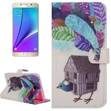 Creatieve Poult Huis patroon horizontaal spiegelen ontmoette diamanten ingelegd lederen hoesje ontmoette houder & portemonnee & opbergruimte voor pinpassen voor Samsung Galaxy Note 5 / N920