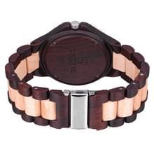 SKONE ronde wijzerplaat kalender weergave nagel schaal mannen Quartz horloge met Maple + sandelhout Band (Beige + donkere koffie)