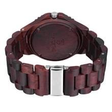 SKONE ronde wijzerplaat kalender weergave nagel schaal mannen Quartz horloge met sandelhout Band (donkere koffie)