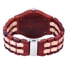 SKONE ronde wijzerplaat kalender weergave klinknagels decoratieve Bezel Romeinse cijfers schaal mannen Quartz horloge met Maple + sandelhout Band (Beige + rood)