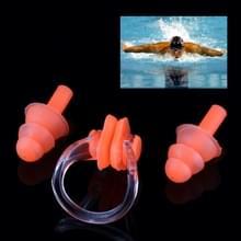 Zachte siliconen zwemmen neus Clip en oor Plug Set oordopje  willekeurige kleur levering
