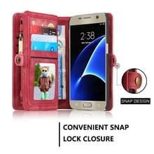 Samsung Galaxy S7 / G930 horizontaal multifunctioneel PU leren CaseMe Flip Hoesje met magnetisch verbonden afneembaar back cover  foto frame en opbergruimte voor pinpassen & geld (rood)