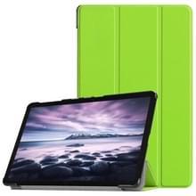Custer textuur horizontaal spiegelen PU lederen Case voor Galaxy Tab een 10.5 / T595 & T590  met drie-vouwen houder & slaap / Wake-up functie (groen)
