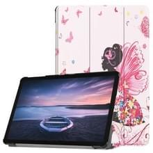 Butterfly Fairy patroon horizontale Flip PU lederen Case voor Galaxy Tab S4 10.5 / T835  met drie-vouwen houder & slaap / Wake-up functie