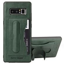 Fierre Shann voor Galaxy Note 8 volledige beschermende lederen draagtas met houder & Card Slot(Green)