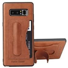 Fierre Shann voor Galaxy Note 8 volledige beschermende lederen draagtas met houder & Card Slot(Brown)