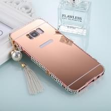 Voor Galaxy S8 ingelegde parel ketting Hanger diamant galvaniseren spiegel PC beschermende Cover Case (Rose goud)