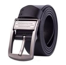 Mannen Pin gesp lederen riem Pure lederen broek riem  riem Length:120cm(black)
