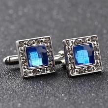 1 paar luxe blauwe kristal wit Strass vierkanten Manchetknopen