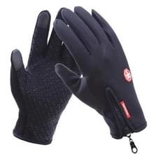Fietsen handschoenen volledige vinger neopreen PU ademend leer warme Winter buiten sport handschoenen  Size:M(Black)