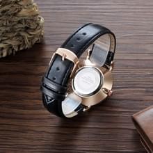 CAGARNY 6812 ronde wijzerplaat legering behuizing Fashion paar Watch mannen & vrouwen minnaar Quartz horloges met PU leder Band(Black)