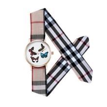 CAGARNY 6813 vlinder patroon ronde Dial legering Gold Case mode vrouwen Watch Quartz horloges met doek Band