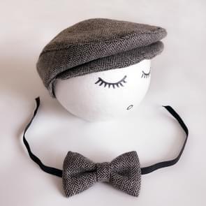 Pasgeboren Baby Fotografie Props Foto Shoot Outfits baby Cap Cabbie hoed met Bowtie instellen zwart grijs