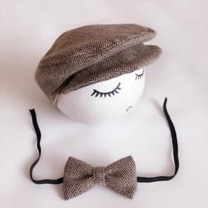 Pasgeboren Baby Fotografie Props Foto Shoot Outfits baby Cap Cabbie hoed met Bowtie instellen koffie kleur