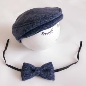 Pasgeboren Baby Fotografie Props Foto Shoot Outfits baby Cap Cabbie hoed met Bowtie instellen diepe blauw