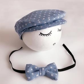 Pasgeboren Baby Fotografie rekwisieten Foto Shoot Outfits baby Cap Cabbie hoed met ster Bowtie Set blauw