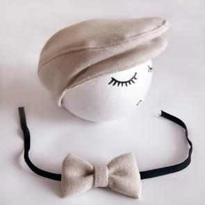 Pasgeboren Baby Fotografie Props Foto Shoot Outfits baby Cap Cabbie hoed met Bowtie Set Beige