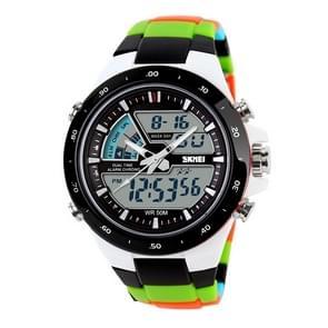 SKMEI 1016 multifunctionele mannen Outdoor sporten Camouflage Noctilucent waterdichte dubbele digitaal horloge (zwart)