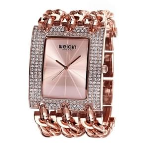 WeiQin Women Fashion Rhinestone Inlaid Square Case Alloy Bracelet Band Analog Quartz Wrist Watch(Rose Gold)