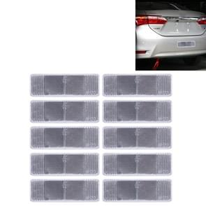 10 stuks auto Rear Bumper waarschuwing kunststof Reflector en Sign(Silver)