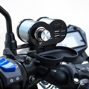 Draagbare motorfiets aluminiumlegering dubbele USB-oplader sigarettenaansteker (grijs)