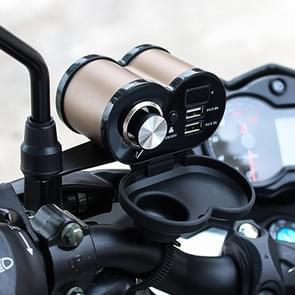 Draagbare motorfiets aluminiumlegering dubbele USB-oplader sigarettenaansteker (goud)