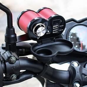 Draagbare motorfiets aluminiumlegering dubbele USB-oplader sigarettenaansteker (rood)