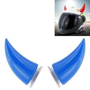 2 PCS Motorcycle Helmet Devil Decoratie Motor Helm Zuignappen Hoorns Decoratie Hoofddeksel Sucker (Blauw)