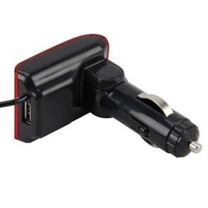 12-24V  2.1a auto MP3 muziek speler multifunctionele draadloze auto FM Player draadloze autolader met USB poort & LED scherm ondersteuning Hand-free en TF Card(Red)