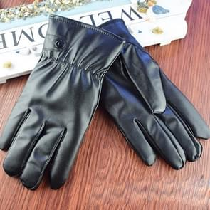 5 PCS Men Riding Gloves Motorcycle Waterproof PU Leather Gloves Winter Warm Gloves Touch Screen Retro Thickened PU Leather Cuff Plush Non-slip Outdoor Gloves