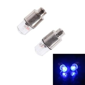 2 stk klep Cap licht wiel band Lamp met accu voor auto / motor / fiets (blauw licht)