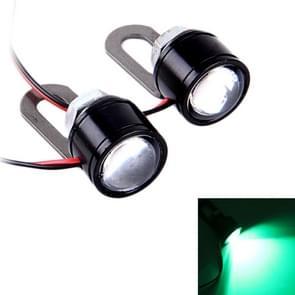 2 PC's 12V 3W Eagle ogen LED licht voor motorfiets  draad lengte: 45cm (groen licht)