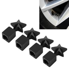 4 STKS stervorm Gasdop mondstuk cover Tire Cap auto Tire Valve Caps (zwart)