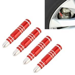 4 STKS lange Bullet vorm Gasdop mondstuk cover Tire Cap auto Tire Valve Caps (rood)