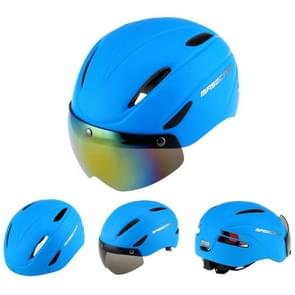 Base Camp Colorful Men and Women Road Mountain Bike Magnetic Goggles Helmets Riding Safety Helmet Head Circumference Fit for 56-62cm(Blue)