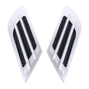 2st Euro stijl kunststof decoratieve Flow inname Turbo Bonnet Hood kant Vent Grille luchtsteun met zelfklevende Sticker(Silver)