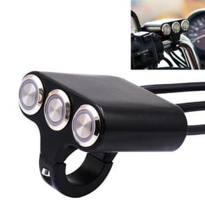 Motorfiets koplamp ondersteunende licht hoorn Switches aluminiumlegering drie-positie kraan Switches met licht