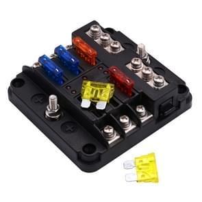 Onafhankelijke positieve en negatieve 1 in 6 uit 6 manier Circuit Blade Fuse Box zekering houder Kits met LED-Indicator van de waarschuwing voor Auto Auto Truck boot
