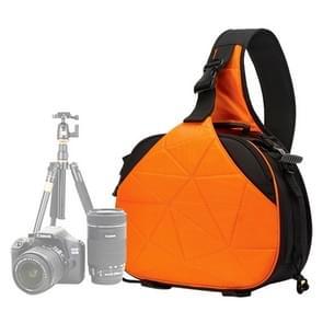 CADEN K2 Triangle Shape Tscope slinger Cross Digitale Camera schoudertassen hoesje zachte tas met regen dekken voor Canon Nikon Sony Afmeting: 33*24*17cm(Oranje)