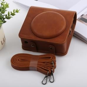Retro Style Full Body Camera PU Leather Case Bag with Strap for FUJIFILM instax SQUARE SQ6 (Brown)