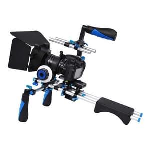 YELANGU D230-3 C-Vormig Camera Schouderstatief met Matte Box & Volg Focus Set voor DSLR & DV Digitale Video of andere camera met 1/4 inch schroefverbinding (blauw)