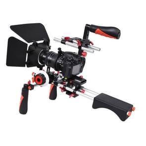 YELANGU D230-1 C-shape Arm Mount Camera Shoulder Mount Kit with Matte Box & Follow Focus Finder for DSLR & DV Digital Video & other Cameras with 1/4 inch Screw Hole(Red)