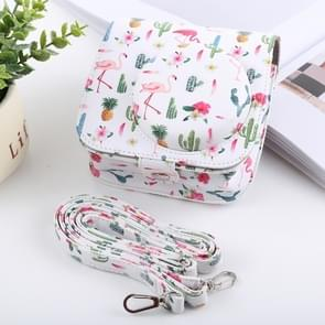 Cactus Flamingo Pattern Full Body Camera PU Leather Case Bag with Strap for FUJIFILM instax mini 9 / mini 8+ / mini 8