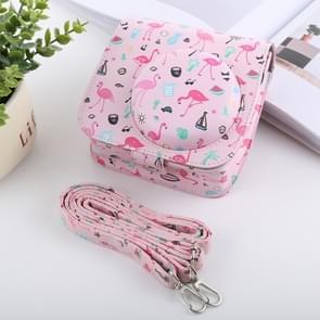 Watermelon Flamingo Pattern Full Body Camera PU Leather Case Bag with Strap for FUJIFILM instax mini 9 / mini 8+ / mini 8