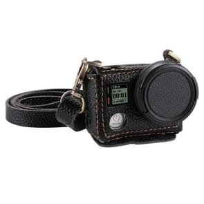 PULUZ for GoPro HERO4 Litchi Texture Genuine Leather Housing Case with Set Key Hole & Neck Strap & 40.5mm UV Lens(Black)