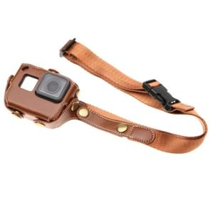 For GoPro  NEW HERO /HERO6   /5 PU Leather Housing Case with  Neck Strap & Buttons(Coffee)